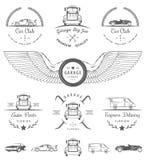 Set of vintage badges car club and garage. Set of vintage car club, drift club, auto parts and garage labels, badges and design elements. Badges trucks, vintage Stock Image