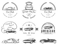 Set of vintage badges car club and garage. Set of vintage car club, drift club, auto parts and garage labels, badges and design elements. Badges trucks, vintage Royalty Free Stock Photography