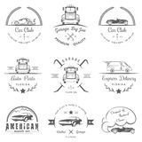 Set of vintage badges car club and garage Royalty Free Stock Photos