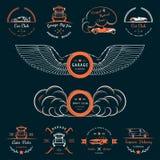 Set of vintage badges car club and garage Stock Image