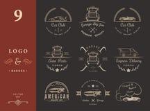 Set of vintage badges car club and garage Stock Images
