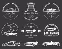 Set of vintage badges Car Club. Set of vintage car club and garage labels, badges and design elements. Badges trucks, vintage cars and sports cars Royalty Free Stock Photos