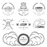 Set of vintage badges. Set of vintage car club and garage labels, badges and design elements. Badges trucks, vintage cars and sports cars Stock Photography