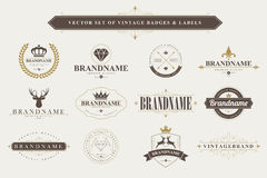Set of vintage badges and labels. Stock Photos