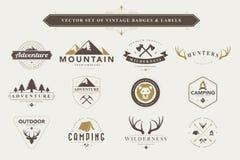 Set of vintage badges and labels. stock illustration
