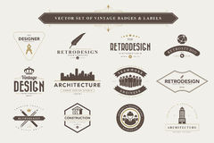 Set of vintage badges and labels. Stock Image