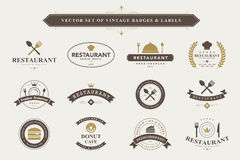 Set of vintage badges and labels. Stock Photography