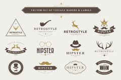 Set of vintage badges and labels. Royalty Free Stock Photo