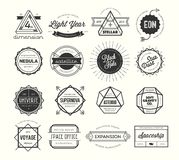 Set of vintage badges and labels, inspired by space themes royalty free illustration