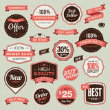 Set of vintage badges and ribbons vector illustration