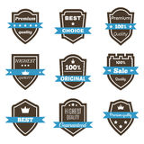 Set of 9 vintage badges. Shields with ribbons. Sale, premium qua Royalty Free Stock Photography