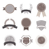 Set of Vintage Badges. Tags, banners and emblems illustrations. Including circles, wreaths, laurels and badges that you can use as templates for your text Stock Image