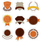 Set of Vintage Badges. Tags, banners and emblems illustrations. Including circles, wreaths, laurels and badges that you can use as templates for your text Stock Photography