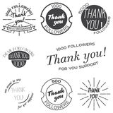 Set of vintage badges with Thank you, banners and stickers. Royalty Free Stock Photos