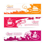 Set of vintage bakery banners with cupcakes. Menu Royalty Free Stock Photography