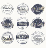 Set of vintage bakery grunge labels Royalty Free Stock Photos