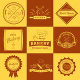 Set of vintage bakery labels, badges and design Stock Photos