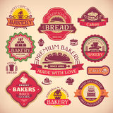 Set of vintage bakery labels Stock Image