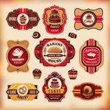 Set of vintage bakery labels. Set of vector vintage various bakery labels stock illustration
