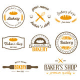 Set of vintage bakery logos, labels, badges and Stock Photo