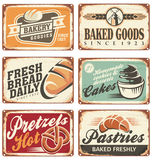 Set of vintage bakery metal signs. Collection of vintage  bakery signs and retro ads Royalty Free Stock Photo