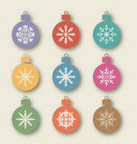 Set vintage balls with different symmetrical snowflakes Stock Photo