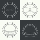 Set of vintage banners. Set of vintage hipster banners,  insignias,  radial  sunbusrt with ribbon and geometric shapes. Border and frame. Minimal design. Outline Royalty Free Stock Photo