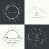 Set of vintage banners. Set of vintage hipster banners,  insignias,  radial  sunbusrt with ribbon and geometric shapes. Border and frame. Minimal design. Outline Stock Images