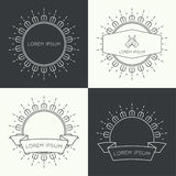 Set of vintage banners. Set of vintage hipster banners,  insignias,  radial  sunbusrt with ribbon and geometric shapes. Border and frame. Minimal design. Outline Royalty Free Stock Photography