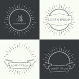 Set of vintage banners. Set of vintage hipster banners,  insignias,  radial  sunbusrt with ribbon and geometric shapes. Border and frame. Minimal design. Outline Stock Photography
