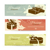 Set of vintage banners with present background Stock Image
