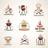 Set of vintage barbecue and grill labels Stock Photos