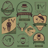 Set of vintage barber, hairstyle and gentlemen club logos. Vecto Royalty Free Stock Image