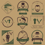 Set of vintage barber, hairstyle and gentlemen club logos. Vecto Royalty Free Stock Images