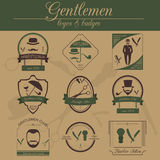 Set of vintage barber, hairstyle and gentlemen club logos. Vecto Royalty Free Stock Photo