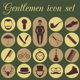 Set of vintage barber, hairstyle and gentlemen icon. Vector illu Royalty Free Stock Photography