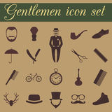 Set of vintage barber, hairstyle and gentlemen icon. Vector illu Stock Images