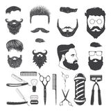 Set of vintage barber monochrome icons and design elements   Stock Images
