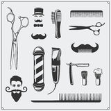 Set of vintage Barber shop design elements and badges. Stock Image