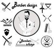 Set of vintage barber shop design Royalty Free Stock Photos