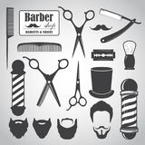Set of vintage barber shop elements, icons, labels. Vector illustration stock illustration