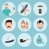 Set of vintage barber shop elements logo, labels, badges and design element icon in flat. Barber items premium quality Stock Images