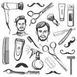 Set of vintage barber shop elements Royalty Free Stock Images
