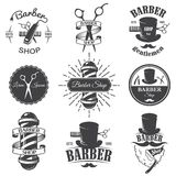 Set of vintage barber shop emblems. Label, badges and designed elements. Monochrome linear style royalty free illustration