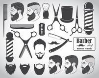 Set of vintage barber shop emblems, label, badges and designed elements stock illustration