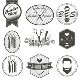 Set of vintage barber shop emblems, label, badges Royalty Free Stock Photos