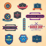 Set of vintage barber shop graphics and icons. Royalty Free Stock Images