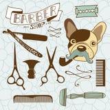 Set of vintage barber shop and hairdresser graphics Stock Images