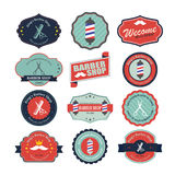 Set of vintage barber shop logo graphics and icons. Royalty Free Stock Photo