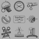 Set of vintage barber shop logo, labels, badges and design element. Vector Stock Image